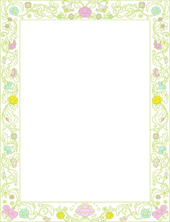 green leaves border: Green spring frame  with flowers