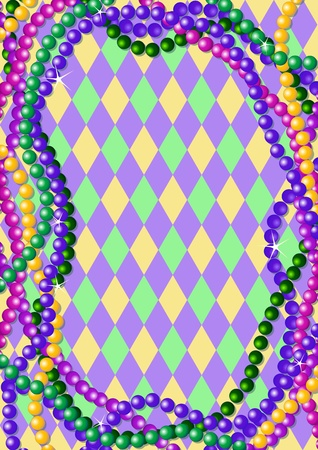 Mardi Gras beads background with place for text Vector