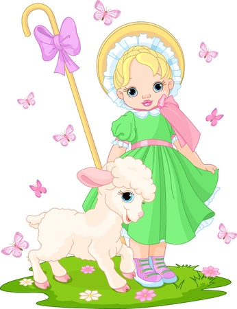 Little shepherdess with newborn lamb in  the spring meadow
