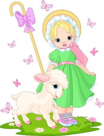 ovejita bebe: Pastorcilla con el cordero reci�n nacido en el prado de primavera Vectores
