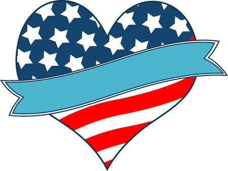 president of the usa: American flag heart with place for text Illustration