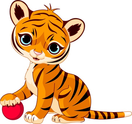 Cute tiger cub playing with red boll Vector