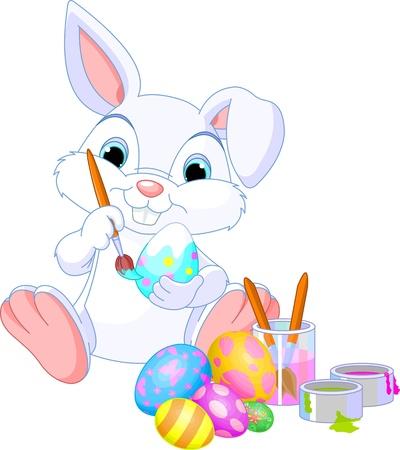coniglio di pasqua: Carino Easter Bunny dipingere un uovo