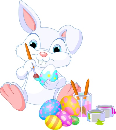 cute rabbit: Cute Easter Bunny painting an egg Illustration