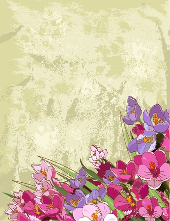 Spring flowers design with place for text Vector