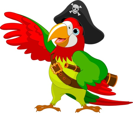 pirates: Illustration of talking Pirate Parrot Illustration