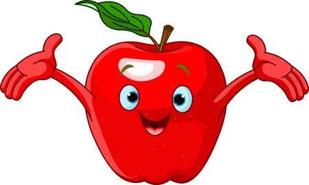 Illustration of Cheerful Cartoon Apple character 일러스트