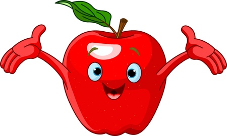 Illustration of Cheerful Cartoon Apple character Vector
