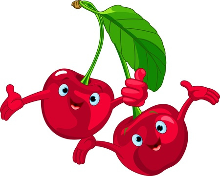 Illustration of Cheerful Cartoon Cherries character Illustration
