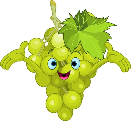 funny: Illustration of Cheerful Cartoon Grape character Illustration