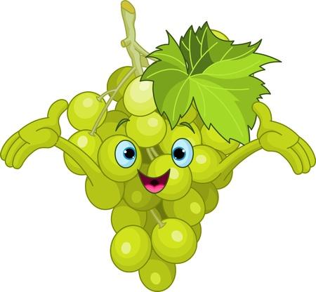 frutas divertidas: Ilustraci�n del car�cter alegre de uva de dibujos animados
