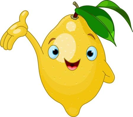 frutas divertidas: Ilustración del carácter alegre de limón de dibujos animados