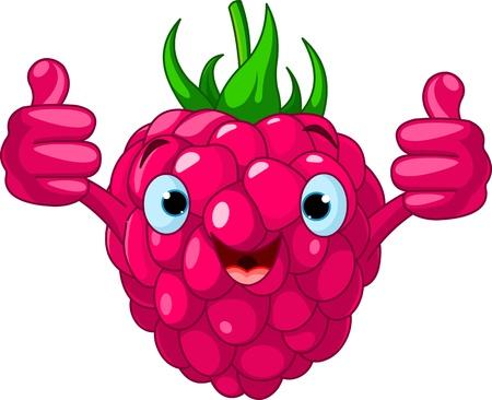frutas divertidas: Ilustraci�n del car�cter alegre de frambuesa de dibujos animados