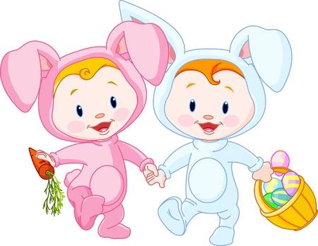 Deux mignon de Pâques bébés, lapins, tenant par la main