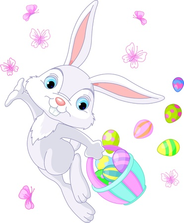Illustration of Easter Bunny Hiding Eggs Vector
