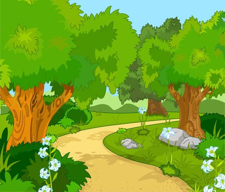jungle cartoon: Un paisaje de bosque verde con �rboles y flores