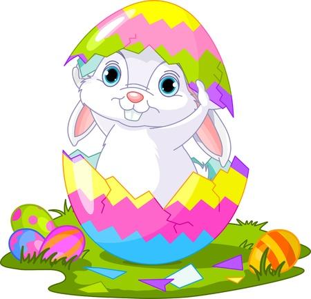 귀여운 부활절 토끼 깨진 된 달걀에서 밖으로 점프 일러스트