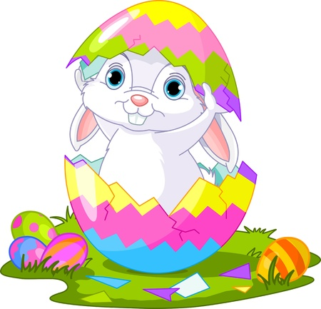 huevo caricatura: Lindo conejo de Pascua saltando de huevo roto