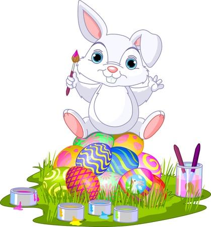 descriptive color: Cute Easter bunny sitting on eggs  Illustration