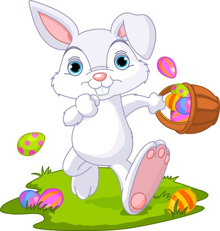 cartoon easter basket: Cute Easter Bunny Hiding Eggs