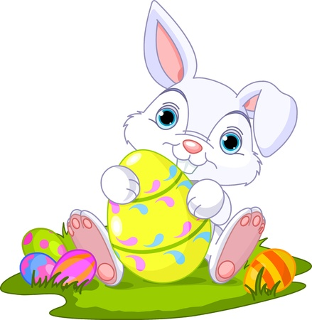 cute rabbit: Cute Easter Bunny holding Easter Egg