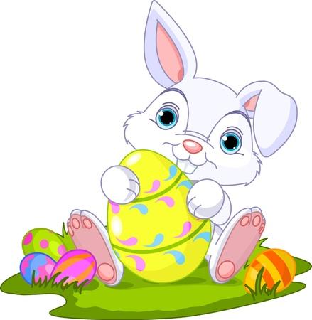 silhouette lapin: Mignon de lapin de Pâques tenue oeufs de Pâques