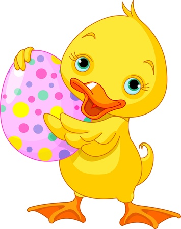 Illustration of happy Easter duckling carrying egg Vector