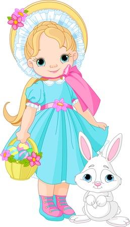 coniglio di pasqua: Bambina con coniglio di Pasqua Vettoriali
