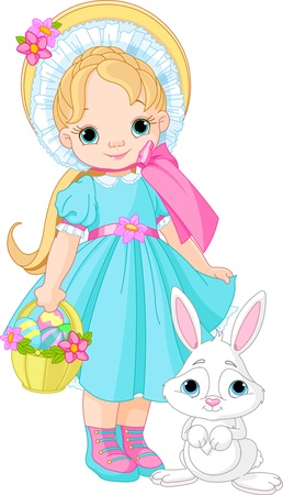 cute baby girls: Little girl with Easter rabbit