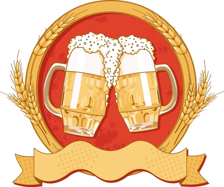 Oval beer label design with place for text Vector