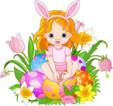 Illustration of Easter baby girl sitting on Easter eggs