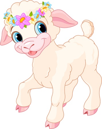 cartoon sheep: Easter lamb with circlet of spring flowers