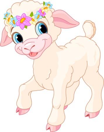 pasen schaap: Pasen lamsvlees met kringetje van lentebloemen Stock Illustratie