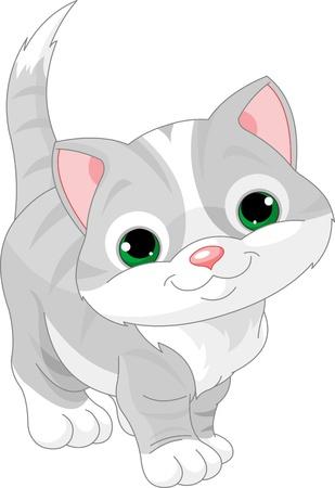 cartoon poes: Illustratie van heel schattig grijs kitten Stock Illustratie