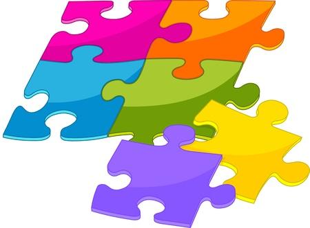 Colorful shiny puzzle pieces