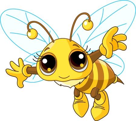 귀여움: 친절 귀여운 꿀벌 비행의 그림