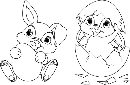 Black and white easter bunny coloring page vector