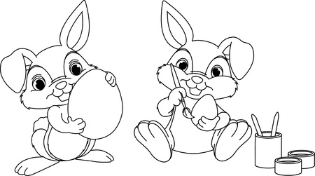 Easter Bunny painting eggs coloring page Vector