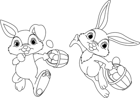 Cute Easter Bunny Hiding Eggs coloring page Vector