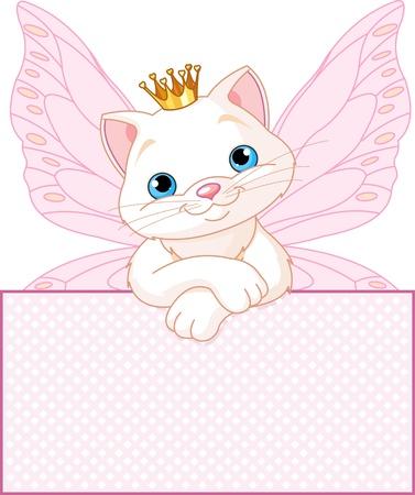 Adorable gato princesa mirando por encima de una muestra en blanco Ilustración de vector