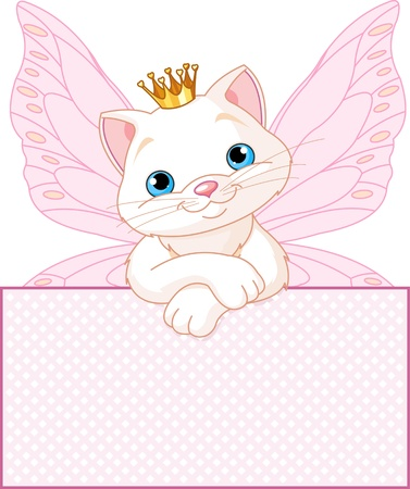 purring: Adorable Princess Cat looking over a blank   sign  Illustration