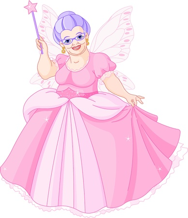 tales: Smiling Fairy Godmother holding magic wand