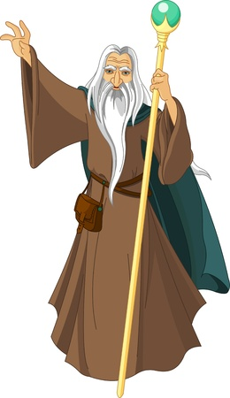 druid: Sorcerer wizard magician with staff Illustration
