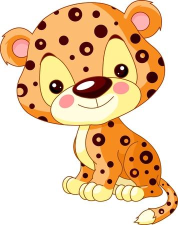 jaguar: Diversi�n Ilustraci�n zool�gico de lindo Jaguar Vectores