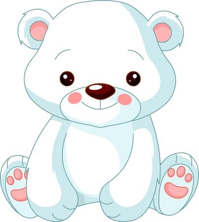schattige dieren cartoon: Leuke dierentuin Illustratie van leuke Polar Bear