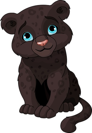 Cute black panther cub Vector