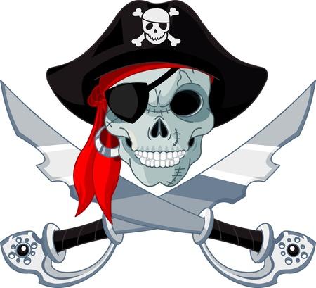 barco pirata: Pirata Cráneo y sables cruzados Vectores