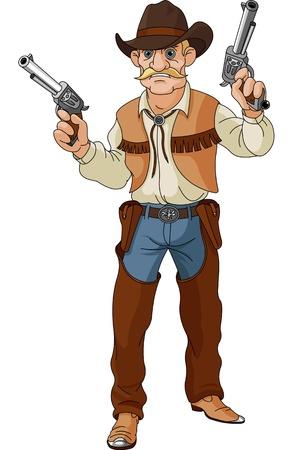 Wild West vaquero está preparando para un enfrentamiento Ilustración de vector