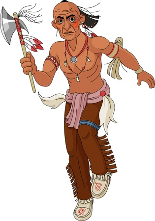 wrestle: Wild west   Indian warrior with  an ax   Illustration