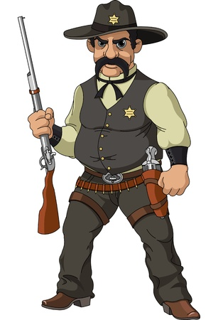 trigger: Wild west   Cartoon sheriff with shotgun Illustration